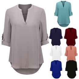 Wholesale Printed Chiffon Blouses - 2017 Sexy Women V Neck Solid Chiffon Blouse Ladies Summer Autumn Long Sleeve Slim T Shirt Plus Size