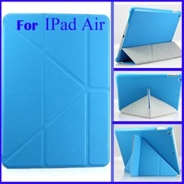Wholesale Apple Ipad Shapes - Wholesale-For New Tablet iPad 5 Air Smart Case 5 Shapes Transformer Folding Cross Pattern Cover With Automatic Sleep & Wake-Up For iPad5