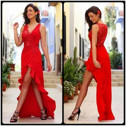 Wholesale Custom Designers For Prom Dresses - Sexy Deep V Neck With Leg Split Red Long Prom Dresses Designer Lace Appliques Chiffon Hi Lo Evening Party Dress For Women Prom