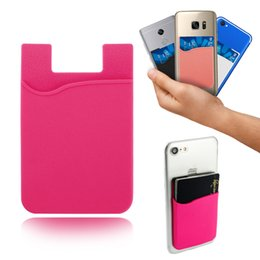 Wholesale Universal Fittings - Silicone Wallet Credit Card Cash Pocket Sticker 3M Adhesive Stick-on ID Credit Card Holder Pouch Gadget For iPhone Samsung Mobile Phone