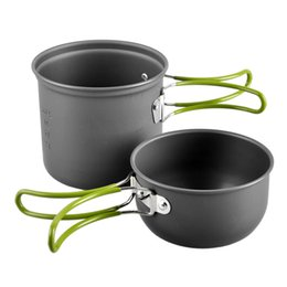 Wholesale Outdoor Camping Cook Sets - Outdoor Sport Traveling Camping Hiking Portable Cooking Aluminum Alloy Non-stick Pots Pans Folding Bowls Cookware Set Wholesale 2504032