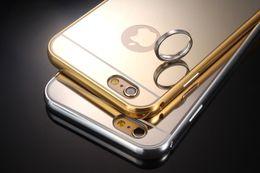 Wholesale Aluminum Case 4g - 100 Pcs lot Bling Luxury Metal Aluminum Bumper Frame+Mirror Case Hard Metal electroplate For Apple iphone 6 6 Plus 7 7Plus 4G 5G