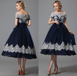 Wholesale Strapless Ball Dresses Prom - 2017 Elegant Navy Blue Ball Gown Prom Dresses Lace Bateau Neck Knee Length Zipper Pageant Part Dresses