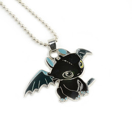 Wholesale Dragon Link - Free Shipping Wholesale Cartoon How To Train Your Dragon 2 Toothless Night Fury Pendant Necklace 12PCS LOT