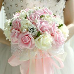 Wholesale Rose Flower Lace - Artificial wedding bouquets De Noiva 2017 New Sweet Romantic Rose Flower Beautiful Lace Wedding Bouquet Props Accessories Gift Corsage
