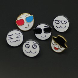 Wholesale Smiley Face Pin Badges - free shipping 12 pcs  lot fashion jewelry metal enamel epoxy expression smiley face brooch badge collar label pin
