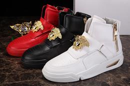 Wholesale White Bootie - Authentic New Paris male shoes New Design High Top Shoes Bootie PVC-Suede Leather Walk Sport Shoes Men Fashion Lace Up Casual Men Flats