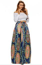 Vestido de noiva de cintura alta pregueada on-line-Floral Africano das Mulheres Imprimir Vestido Plissado de Cintura Alta Uma Linha Saia Maxi Feminino Casamento Floral Vestido Longo Flor Abstrata África Maxi 65008