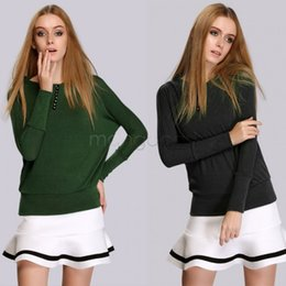 Wholesale Best Ladies Sweaters - Best Price ! 2015 Women Pullovers Fashion Lady Batwing Long Sleeve O-Neck Casual Knitted Sweater 2 Colors 30