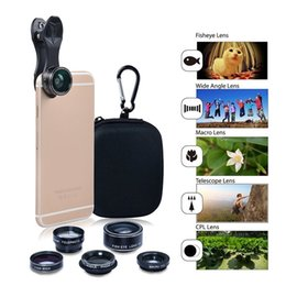 Wholesale Hd 198 - HD Camera Lens Kit 5 in 1 198° Fish Eye Telephoto Lens Wide Angle for iPhone 6 Plus 7 Plus Samsung S7 Edge With Retail Package 20pcs