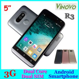Wholesale Unlocked 3g Smartphones - 5 inch 3G Unlocked ViNOVO R3 Smartphones MTK6572 Dual Core Android 4.4 Dual SIM Cameras 512MB 4GB Smart-wake Mobile phones GPS Facebook