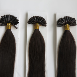 Wholesale Nail Tip Natural Hair Extension - Straight Keratine Nail Tip Hair Extensions U Tip Human Dark Brown Natural Hair Extensions Keratin Hair Extensions