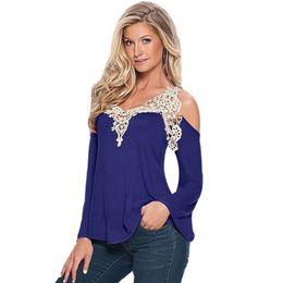 Wholesale Tee Shirt Crochet - Wholesale-Sexy Off Shoulder T shirt Women V Neck Lace Crochet T shirt Plus Size Tee Shirt Femme Casual Tops Long Sleeve T shirt For Women