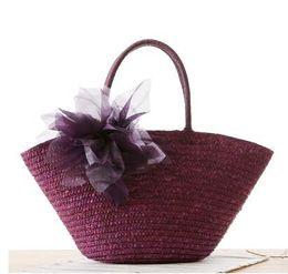 Wholesale Beach Bags Natural - 2017 Europe tide laptop straw bag large flower yarn knitting handbag natural straw beach bag free shipping