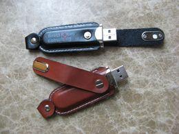 Wholesale Usb Drive Logo Key - No Logo 5 Piece Leather U Disk Leather USB Key Brand New USB Flash Drive Leather USB Flash Memory Stick USB2.0