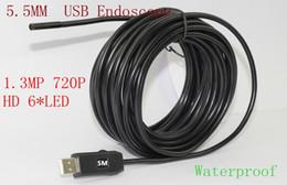 Wholesale Mp Endoscope - Mini 6LED 1280*720 Borescope Inspection Camera 5.5mm Dia USB Endoscope 1.3MP 720P HD 5M Industrial Endoscope Camera FreeShipping
