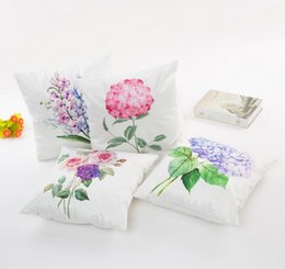 Wholesale Yellow Decorative Pillow Covers - Flower Pattern Cushion Cover 4 Style Purple Blue Yellow Pink Flower Pillow Cases 45*45cm Sofa Decorative Pillowcase