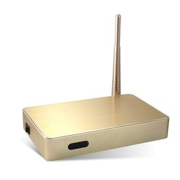 Wholesale Quad Core Logo - Support OEM logo,Q16 metal case Golden color Android 6.0 OS Rk3229 chipset 1GB ram 8GB rom wifi iptv set top box