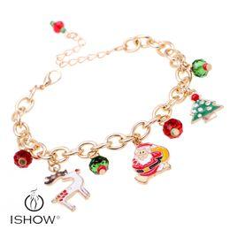 Wholesale Deer Bangle Bracelet - Aluminum chain bracelets New & fashion christmas deer tree  santa claus charm women bangle gift for holiday bracelets