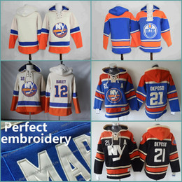 Wholesale Mens Blank Hockey Jerseys - Blank No Name Number 3 Travis Hamonic 12 Josh Bailey 21 Kyle Okposo Mens New York Islanders Custom Hockey Jersey Hoodie Stitched Hoodies