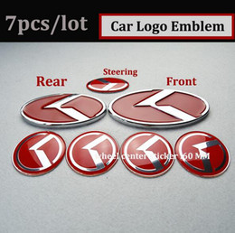 Wholesale Kia Car Emblem - 7pcs set new black red K logo badge emblem fit for KIA OPTIMA K5 exterior accessories car emblems 3D sticker Hood Trunk Steering