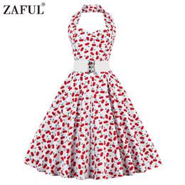 Canada Vente en gros- Vintage Femmes ZAFUL rouge robe été Feminino Rockabilly Pin up Plaid Floral des années 50 60 s robes sans manches robes Plus la taille Offre