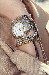 Wholesale Metal Stretch Bangle Bracelet - New Design Girl Jewelry Metal Ball Beads Stretch Chain Bracelets & Bangle Luxury Leather For Women Bracelet fashion Jewelry