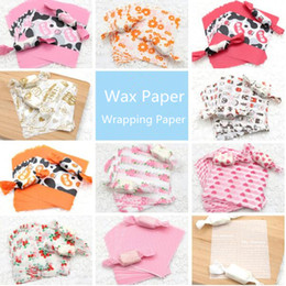 Wholesale Wholesale Candy Wraps - Candy Wrapping Paper Wax Paper For Candy Nougat Food Packaging Multi Color Cartoon Floral Wrapper 100 pcs lot
