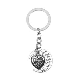 Wholesale Cremation Jewelry Necklace Mom - Mom in Heart Urn Keychain Moon Ashes Memorial Keepsakes Cremation Jewelry with Funnel and Gift Bag