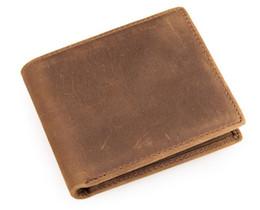 Portefeuilles en cuir faits à la main hommes en Ligne-Véritable cheval fou cuir marron portefeuille bifold porte-carte porte-monnaie purse hommes court de cuir de cheval fou fait main rétro
