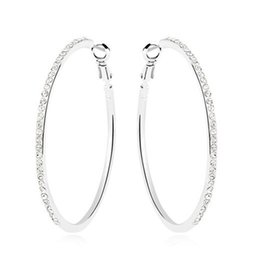 Wholesale Exaggerated Female - Female Exaggerated Hoop Earrings Rhinestone Crystal Drop Earrings For Women Branded Design 18K White Gold Plated Korea Trendy Jewelry 10470
