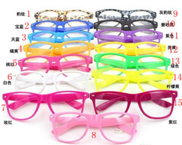 Wholesale Wholesale Clear Designer Frames - 10pcs 15 Colors Fashion Lovely Unisex Clear Lens Nerd Geek Glasses Men Women Beach Color Transparent Sunglasses Eyewear Brand Designer