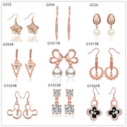 Wholesale Hollow Rose Crystal Earrings - Mixed style women's 18k rose gold earring crystal gemstone,new arrival 10 pairs a lot Beaded animal hollow rose gold Dangle earrings EMG10