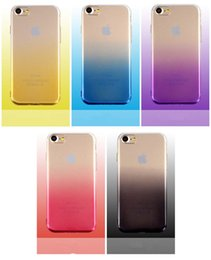 Wholesale Iphone 5s Color Cases - Ultrathin Gradual Change Color Shockproof Case TPU Soft Glitter Cover Cases Cover For iPhone 7 6 6S 5 5S Sumsung S8 S7 Plus Edge J7