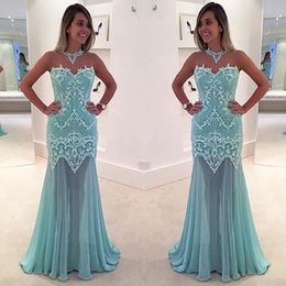 Wholesale Empire Bule Dress - Light Sky Bule Evening Dress Sexy High Neck Prom Dresses Lace Applique Beads Floor Length Chiffon Mermaid Formal Party Gowns 2017 New Design