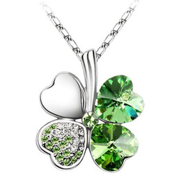 Wholesale Austrian Crystal Clover Leaf - Austrian Crystal Clover Pendant Necklace Charm 18k White Gold Plated Jewelry Made with Swarovski Elements Four Leaf Clover Necklace 206