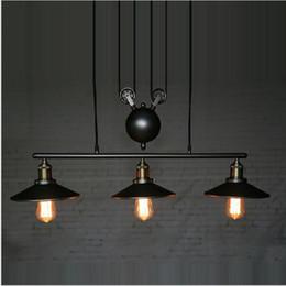Wholesale Rope Pulleys - RH Retro Iron Pulley led pendant lights Loft American Vintage industrial pendant lighting Pulley Rope Antique Edison Pendant Lamps