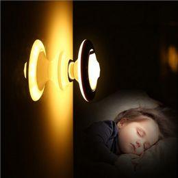 встроенные аварийные фонари Скидка Motion Sensor Night Light 360 градусов вращающийся детектор тела Step Light беспроводной LED USB аккумуляторная Security Light Auto PIR Motion light