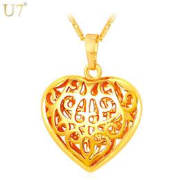 Золотые подвески из полого сердца онлайн-Новая мода для женщин сердце кулон ожерелье Оптовая 18K реального позолоченные полые женщины подарок модные ювелирные изделия сердца P824