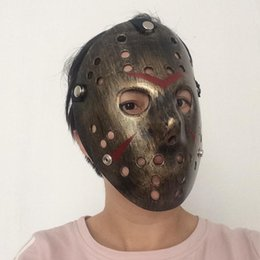 Wholesale Jason Voorhees Face - Vintage Party Masks Delicated Jason Masks Voorhees Freddy Hockey Festival Halloween Masquerade Mask Antique Copper Color Free Shipping