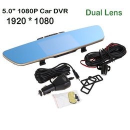 "Wholesale Full Dvd Player - car dvd 5.0"" Full HD 1080P 1092*1080 Car Camera DVR Rearview Mirror Dash Cam Dual Lens Video Recorder Night Vision Looping Recording"