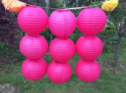 Wholesale Sky Balloon Free Shipping - 2016 Rose red white paper lanterns 35CM Round paper lanterns lamps festival wedding decoration LED chinese paper Balloons with free shipping