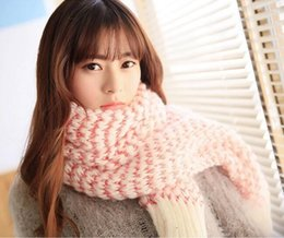 Wholesale Long Plain Cotton Neck Scarves - Korean Autumn Winter Scarf Shawl Women Warm Plain Winter Knit Neck Long Cowl for Women Accessories Neck Warmer Lover Scarves Christmas Gifts