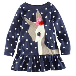 Wholesale Children Wearing Mini Skirts - Girls Children Dot Appliqued Cartoon Ruffles Long Sleeve Dresses For Baby Kids Toddlers Flowers Deer Design Cloth Dress Skirts Wear