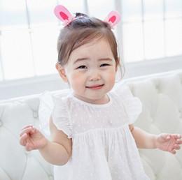 Wholesale Kawaii Baby Headbands - Wholesale 10Pcs Fashion Cute Rabbit Ears Baby Girls Headbands Solid Kawaii Girls Elastic Hairbands Children's Photography Headware