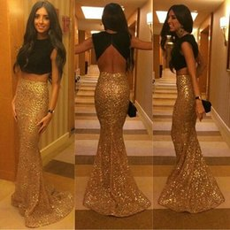 Wholesale Evening Grown Dresses - Gold and Black Two Pieces Prom Dresses 2016 Satin Top Sequins Skirt Grew Neck Hollow Backless Fashion Mermaid Formal Party Evening Dresses