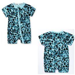 Wholesale Leopard Print Bodysuit - Baby Rompers Jumpsuits Gilrs Boys Sleepsuit Bodysuit Cotton Blue Leopard Printed Short Sleeve Short Pants With Zippered Jumpsuit X138