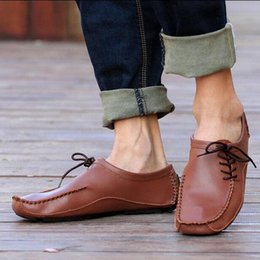 Wholesale Hard Drive Real - High Quality Summer Real Leather Mens Driving Shoe Lace-up Cheap England Ventilate Lazy Loafers Mocassin Soft Zapatos