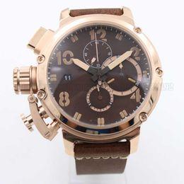 Wholesale Watch 49mm - Wholesale - free ship Limited edition Chimera bronze men's watch leather strap 49mm large dial quartz chronograph