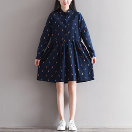 Wholesale Thick Girl Dresses Sleeves - Winter Autumn Dress Cotton Thick Plus Size Dresses Brushed Turn Down Collar Long Sleeve Blue Gray Lolita Casual Dress Mori Girl